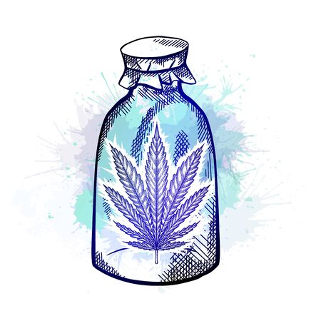 Natural herbal medicine. Glass bottle with a leaf of marijuana with blue watercolor splash. Sketch with hatching. Engraving vector object for articles, banners and your design.