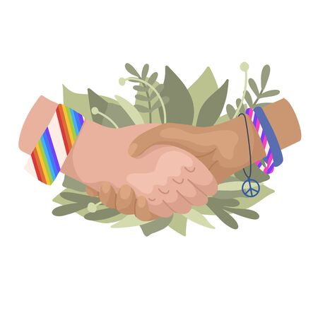 Vector flat illustration of shaking hands with rainbow bracelets and leaves. Friendship Day. Ecological conversation. Modern style cartoon picture for cards, invitations, banners and your creativity