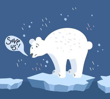 Global warming. Cartoon doodle illustration of a sad bear on melted ice with speech bubble. Save us. World problem with call to action. The threat of extinction of rare animals.