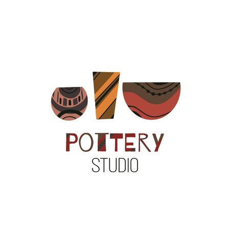 Pottery Studio. Cartoon flat doodle illustration of clay pots and vases and with lettering. Vector object for icons, logos, labels and your design.