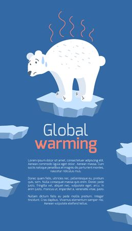 Global warming. Vertical card with cartoon doodle illustration of sad polar bear on melting cracked ice. World problem. The threat of extinction of rare animals. Vector template for banner, articles Illustration