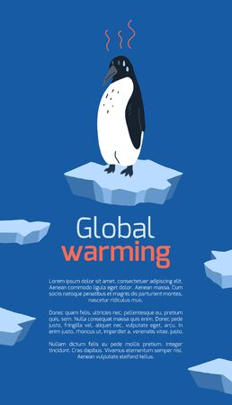 Global warming. Vertical card with cartoon doodle illustration of sad penguin on melting cracked ice. World problem. The threat of extinction of rare animals. Vector template for banner, articles Illustration
