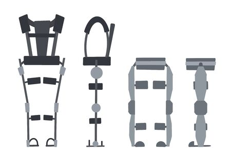 Set of flat medical exoskeleton isolated on a white background. Help for people with disabilities. The future and innovation. Vector exosuit.