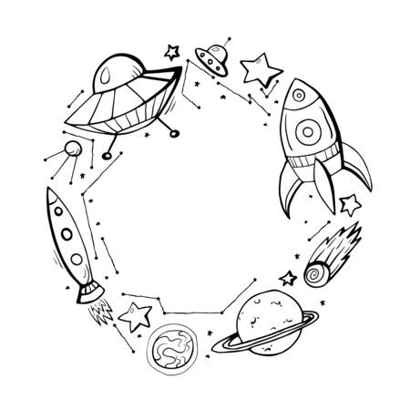 Into the space. Round frame with childrens contour space pattern of a constellation, rockets, stars, planets and place for text. Vector circle banner for coloring book, invitation and your creativity