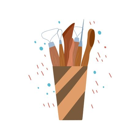 Colored flat illustration of wood tools for pottery and sculpting in cup on abstract background. Hobbies and workshop. Vector cartoon element for greeting cards, labels and your creativity.