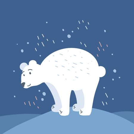 Flat illustration of a hand-drawn polar bear standing on snowdrifts with wrap around. Save nature in pristine beauty. Childrens cute wildlife picture. Vector image for postcard and your creativity