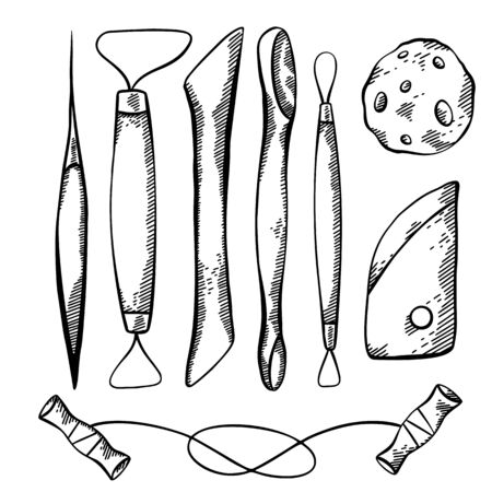 Set of sketch of tools for pottery and sculpting with hatching. Hobbies and workshop. Cutter, wire, sponge. Vector engraving element for greeting cards, labels and your creativity.