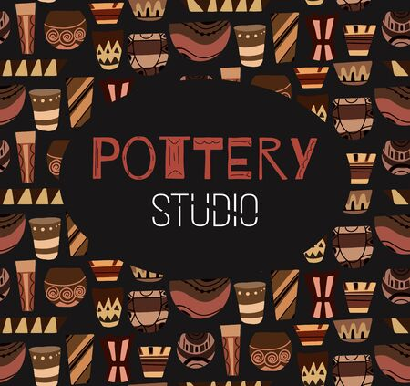 Pottery lessons. Square placart. Flat clay vases and pots with boho pattern on a dark background. Vector template for invitations, diplomas, banners and your design.