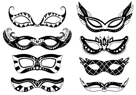 Set of black silhouette carnival masks with various decorations. Print holiday object for masquerade. Festival dressing for the face. Vector object separate from the background.