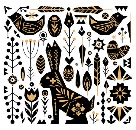 Festive Easter set with gold tribal ornaments. Geometric hare, egg, flower and various decorative elements separately background. object for postcard, sticker, scrap booking and your creativity