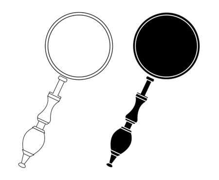 Set of contour silhouettes of magnifiers separately from the background. Search and education. object for icons, infographics and your design. Ilustrace
