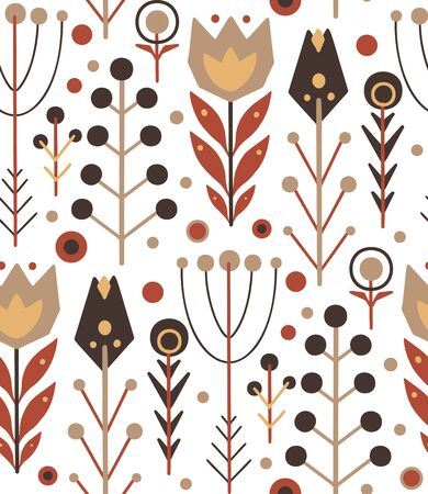 Seamless folk pattern with herbs and flowers on a white background with boho pattern. Vector flat native texture for fabrics, wallpaper and your creativity.