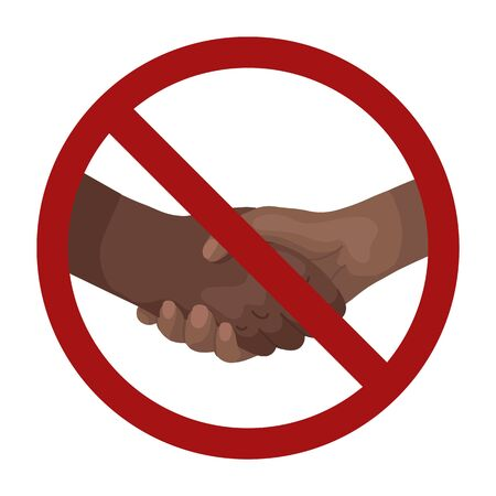 Cartoon african man shaking hands in prohibition sign. Line art businessman in rivalry. War and confrontation. Ban on making a deal. Vector illustration for articles, postcard and your design.