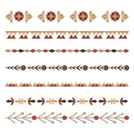 Set of flat natural horizontal dividers. Seamless floral borders with branches and berries. Vector folk object for invitations, brushes, frames and your creativity.