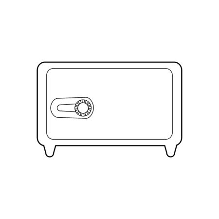 Horizontal contour safe with lock. Recessed and portable safes. Security and protection of values. Vector outline object, icons, infographics and your design.