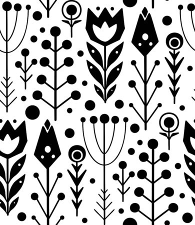 Seamless folk pattern with black silhouette of herbs and flowers on a white background with boho pattern. Vector print native texture for fabrics, wallpaper and your creativity.