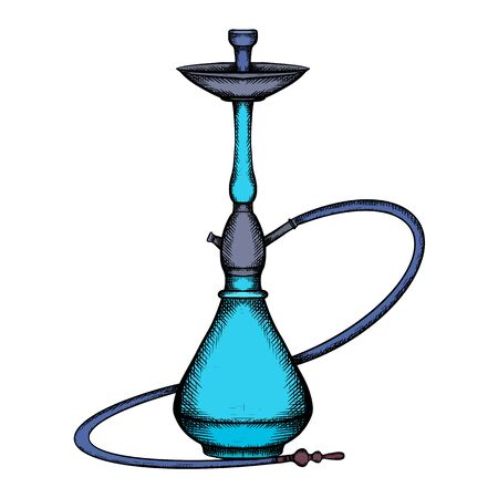 Color sketch cartoon illustration of hookah with hatching isolated on a white background. Rest and relaxation. icons, infographics and your design.