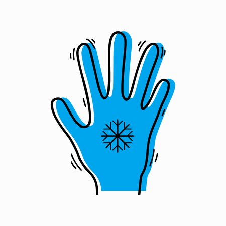 Frostbite of limbs. Contour silhouette of a trembling hand with a snowflake and blue silhouette. Vector object for icons,  infographics and your design. 向量圖像