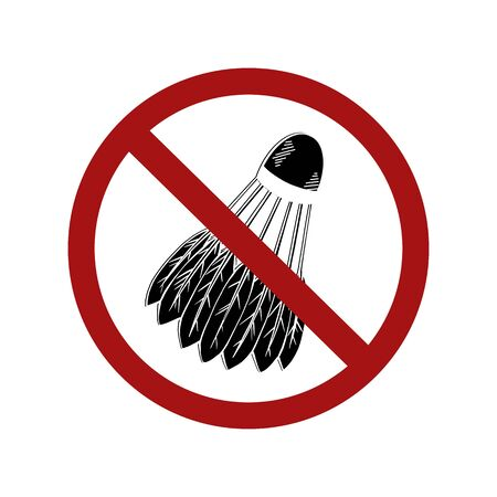 Forbidden on visiting sports places. Contour shuttlecock in a sign of prohibition. Ban sports halls and courts. Taboo on sports games. object for icons, badges, logotypes and your design.