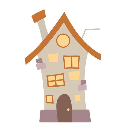 Flat cartoon illustration of a multi-storey village house with a chimney and antenna on a white background. Lovely home. Vector element for stickers, cards and your creativity.