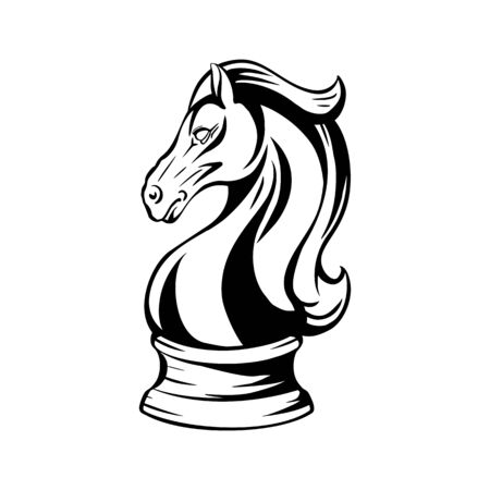 Contour black and white knight chess horse. Proud mustang mascot. Symbol of smart play. Outline object for logos, print, sticker and your design. Stock Illustratie