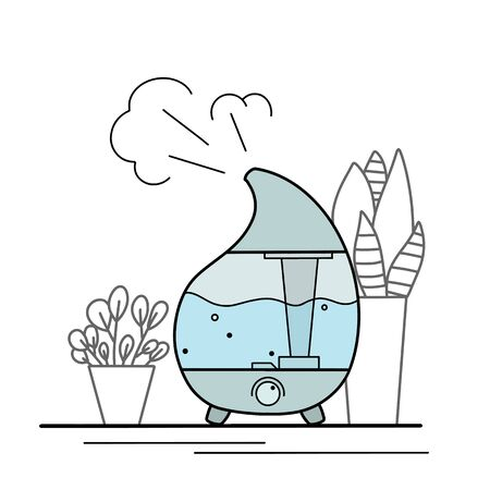 Contour illustration of a humidifier with indoor plants in pots on a white background. Comfort at home. Aromatherapy device. Vector outline object for icons, logos, banners and your design.