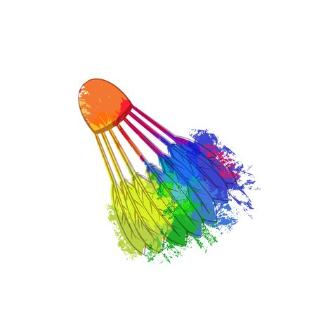 Contour  of a shuttlecock with rainbow  splashes on a white background. Equipment for sports games. Vector grunge object for  icons and your design. Çizim