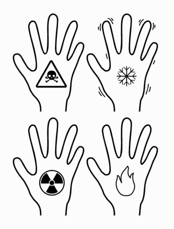 Frostbite, burn, radiation and poisoning of limbs. Contour silhouette of hands with a snowflake, fire, poison and radiation icon. Vector object for icons, logos, infographics and your design.