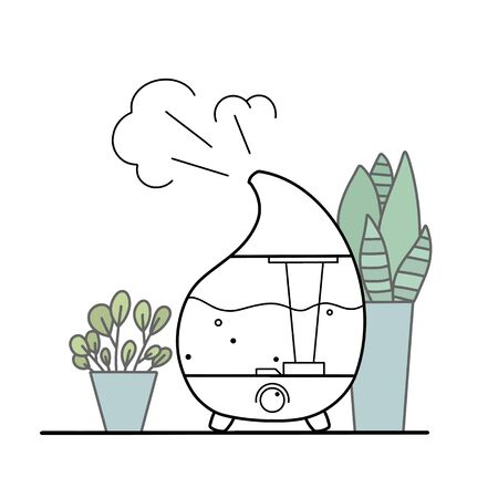 Contour illustration of a humidifier with indoor plants in pots on a white background. Comfort at home. Aromatherapy device. Vector outline object for banner,  card and your design. Ilustração