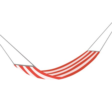 Flat cartoon hammock with striped decorations on white background. Rest and relax. Vector vacation object for animation, cards and your creativity.