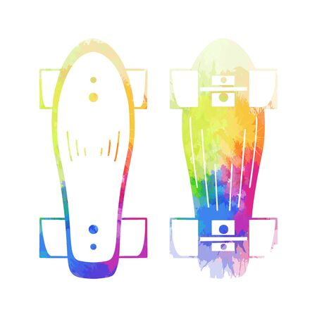 Set of outline illustration of a skateboard top and bottom view with rainbow  splashes. Active lifestyle. Sports hobby. Vector silhouette object for , icon, sticker and your creativity.