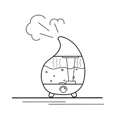 Contour illustration of a humidifier with vaipor on a white background. Comfort at home. Aromatherapy device. Vector outline object for icon,  card and your design. Ilustração