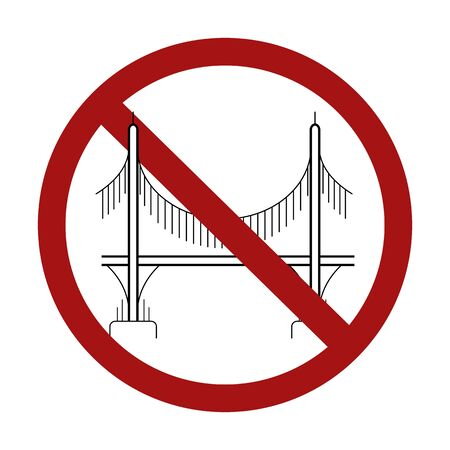 Ban on the construction of bridges. Outline of a bridge on columns in a sign of prohibition. Vector prohibition sign for your design