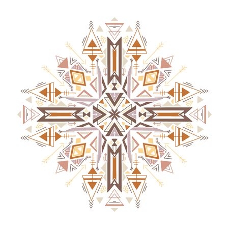 Flat tribal geometric mandala. Color native ornament on a white background. Mystical pattern. Vector colorful folk pattern for cards, stickers, scrapbooking decoration and your creativity.