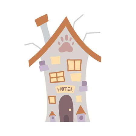 Hotel for pets. Home for homeless animals. Flat cartoon house with a doghouse on a white background. colorful architectural object for animation, cards and your creativity. Illustration