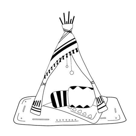 Outline illustration of blanket house with pillows, a garland and boho decorations. Stay home. Game for adults and children. Blanket fortress. object for coloring book, card and your creativity