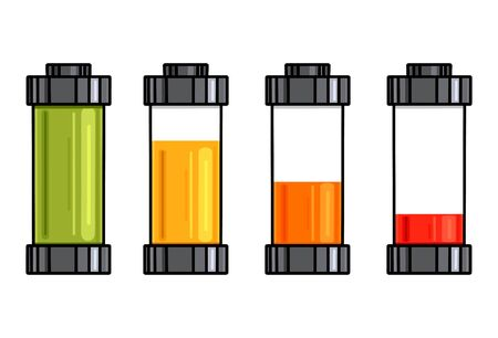 Set of cartoon contour various types of transparent batteries charge. Vector outline element for mobile phone interface, elements of the site and your design