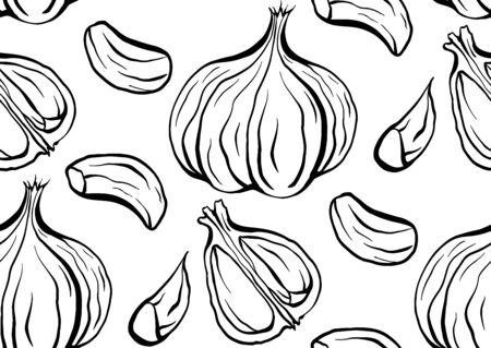 Seamless pattern sketch outline garlic illustration. Antibacterial product for health. Useful seasoning for cooking. Natural spice. Vector texture for wallpaper, packing, background and your design.