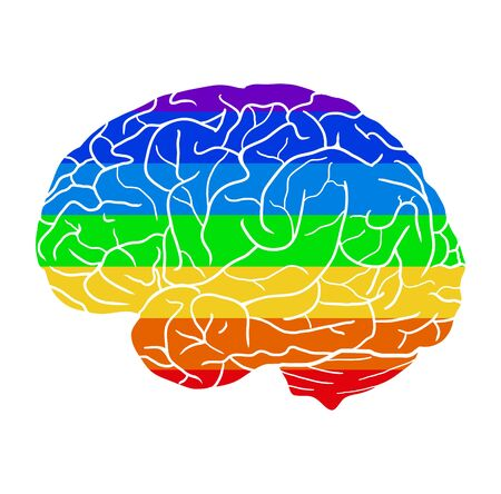 Human brain with a rainbow background. Different love. Month of pride to be yourself. Creativity and human development. Vector element, icons and your design.