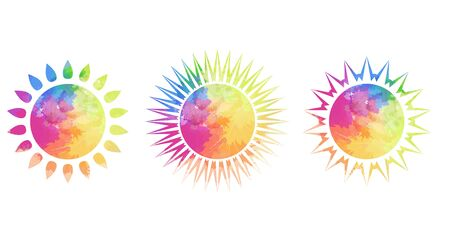 Set of different silhouettes of the suns with rainbow watercolor splashes on a white background. A month of pride. Shining love to all. Vector object for icons, infographics and your design.