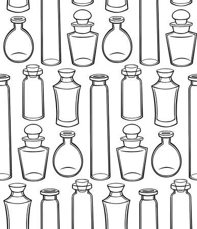 Seamless texture with outline bottles, flasks and jars on a white background. Magical pharmacy objects. Vector contour pattern for fabrics, wallpapers and your design.