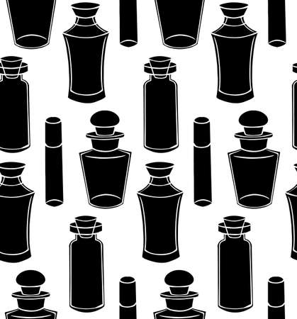 Seamless texture with black silhouette bottles, flasks and jars on a white background. Magical pharmacy objects. Vector pattern for fabrics, wallpapers and your design.