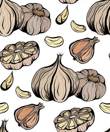 pattern colorful sketch garlic illustration. Antibacterial product for health. Useful seasoning for cooking. Natural spice. color texture for wallpaper, packing and your design