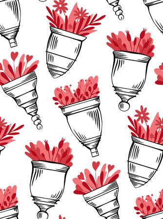 pattern with sketch menstrual cups with hatching and flat red flower on white background. Zero waste objects. Ecological health care. texture for fabric, wallpaper and your creativity Stockfoto - 151058509