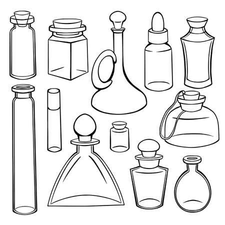 Contour sketch of bottles, flasks and jars. Containers for perfumes and medicines. Natural medicine. Potions and Alchemy. Vector object for recipes, banners and your design. Stockfoto - 150845724