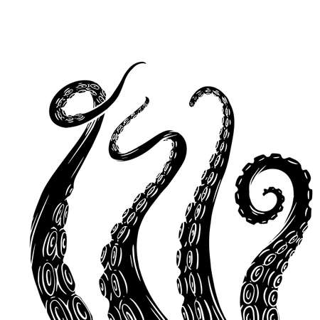 Set of black silhouette sketches octopus tentacles. Creepy limbs of marine inhabitants. Vector object for logos, tattoos, cards and your design. Stockfoto - 150846177