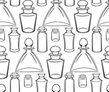 texture with outline bottles, flasks and jars on a white background. Magical pharmacy objects. contour pattern for fabrics, wallpapers and your design.