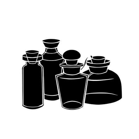 Natural medicine and medicine. Perfumes and potions. Black silhouette of small bottles, flasks on a white background. Vector object for recipes, banners and your design.