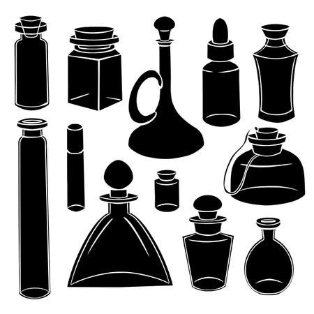 Black silhouette of bottles, flasks and jars. Containers for perfumes and medicines. Natural medicine. Potions and Alchemy. Vector object for recipes, banners and your design. Stockfoto - 150846652