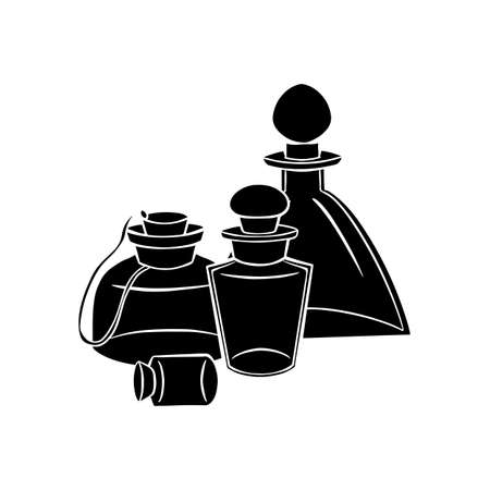 Natural medicine and medicine. Perfumes and potions. Black silhouette of small bottles, flasks on a white background. Vector object for recipes, banners and your design. Stockfoto - 151243370